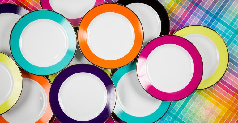 color-band plates from Bright event rentals