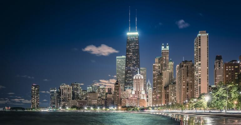 Chicago skyline with shoreline