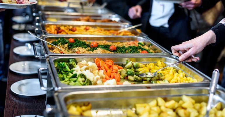 Attendees at a buffet