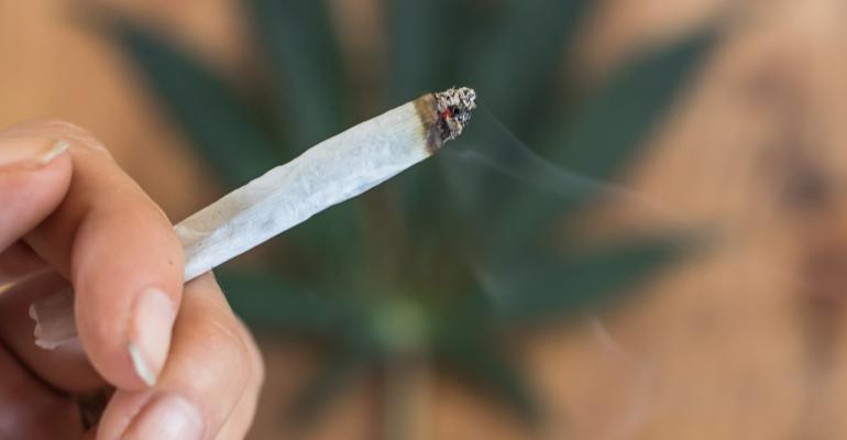 Lighted marijuana cigarette