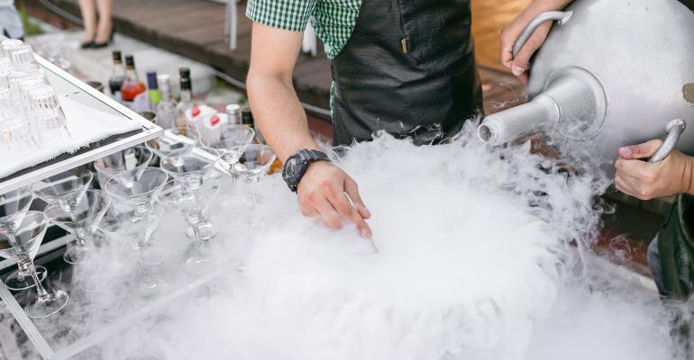 Cocktails prepped with liquid nitrogen