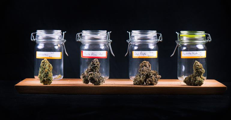 Jars of marijuana buds