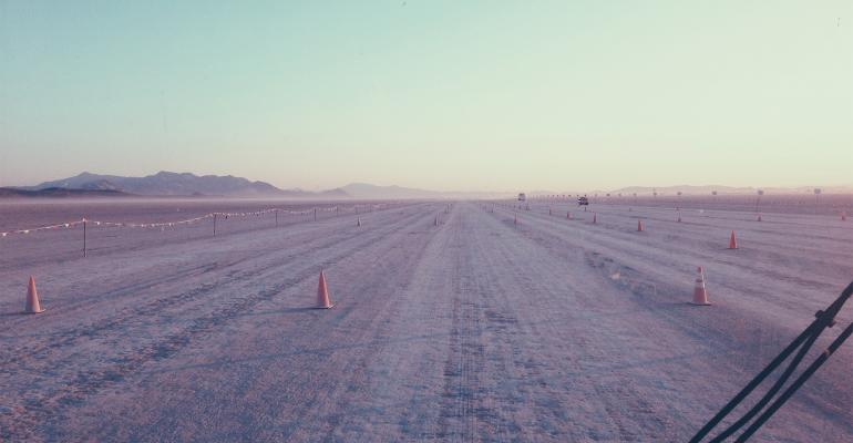 Road to Burning Man in the desert