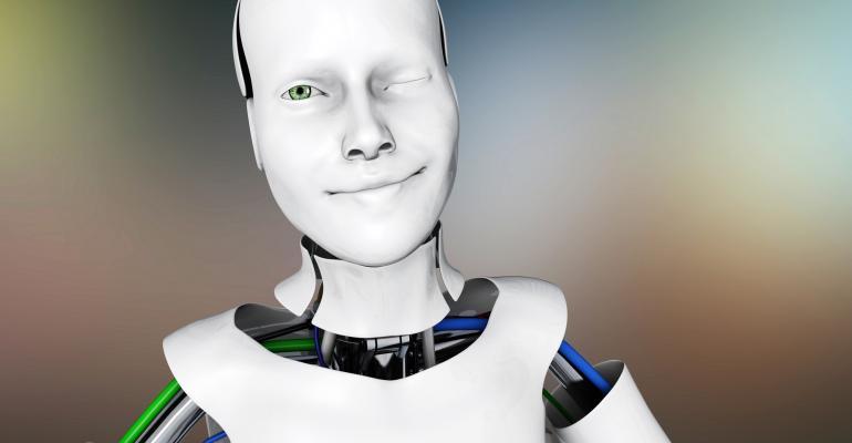 winking lady robot