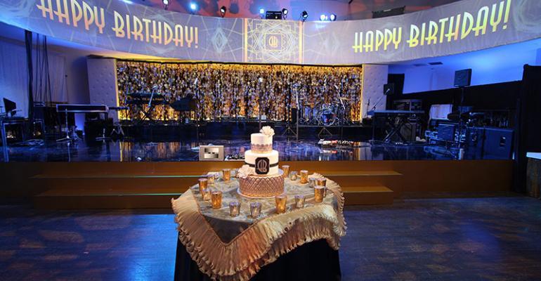 Birthday cake with honorees monogram logo
