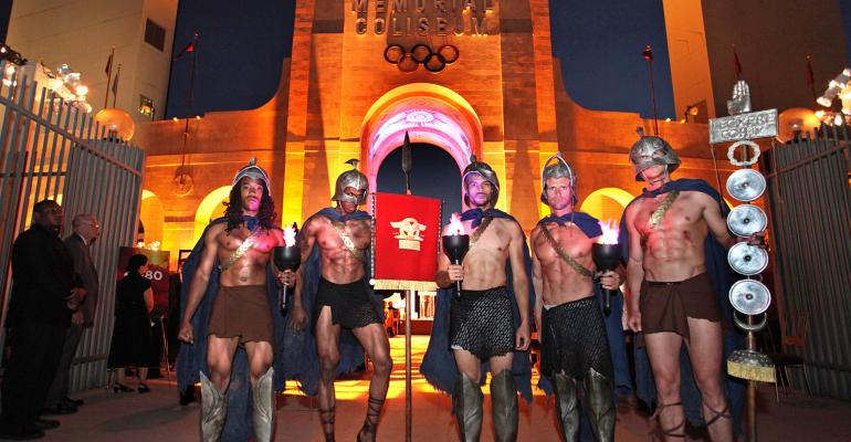 Gladiators pose at the Los Angeles Memorial Coliseum for the 16th Discovery Ball