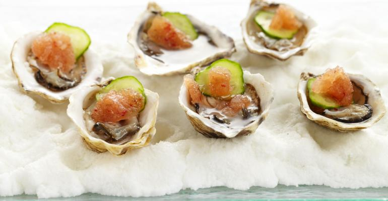 From Wolfgang Puck Catering Kusshi oysters with mignonette sauce