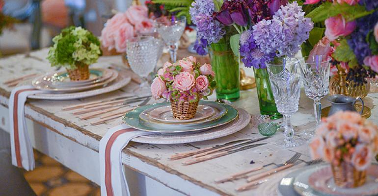 Colorful floral sings against a rustic table thanks to TicTock Couture Florals Photo by Armen Asadorian Photography