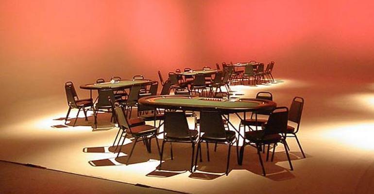 High-end Casino Game Tables, Reusable Signage Kits, Faux Burlap Table Linen