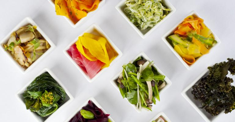 An array of spring appetizers and hors doeuvre  from Occasions Caterers