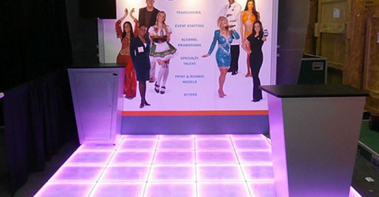 Glowing LED modular dance floor from Brumark