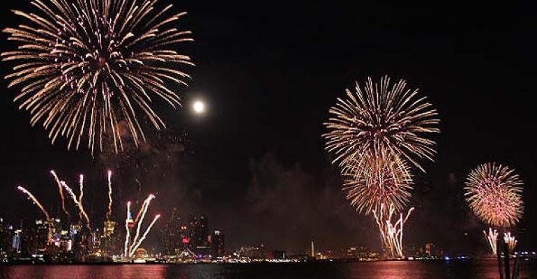 Fireworks over New York Harbor for Independence Day