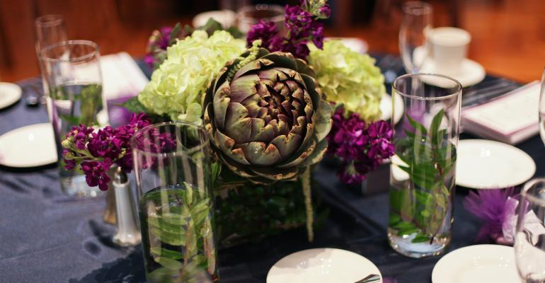 Artichokes come to the party in a centerpiece from Emerald City Designs