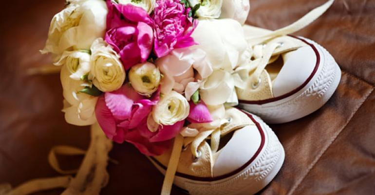 wedding bouquet with sneakers