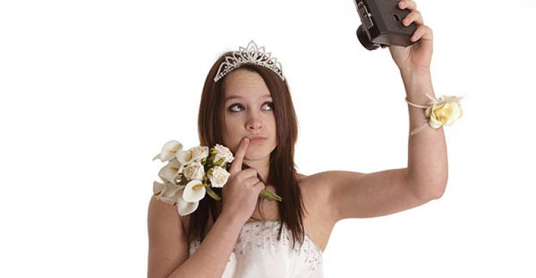 Budget bride takes her own photo