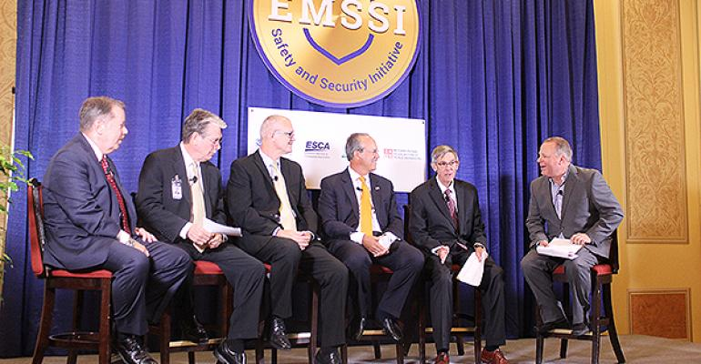 IMEX security panel from left Bill Flynn Keyway Larry Arnaudet ESCA Brad Mayne IAVM David DuBois IAEE Bruce Davidson Department of Homeland Security and Kevin Olsen Keyway