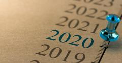 Calendar for 2020 with pushpin