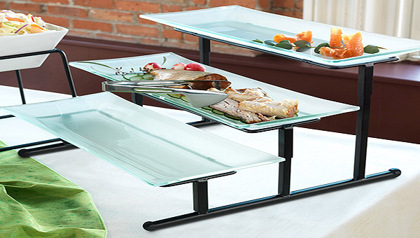 elegant three-tier buffet banquet stand from Libbey Foodservice
