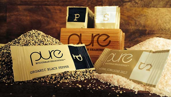 gourmet salt and pepper packets from Pure Epicurean Seasonings