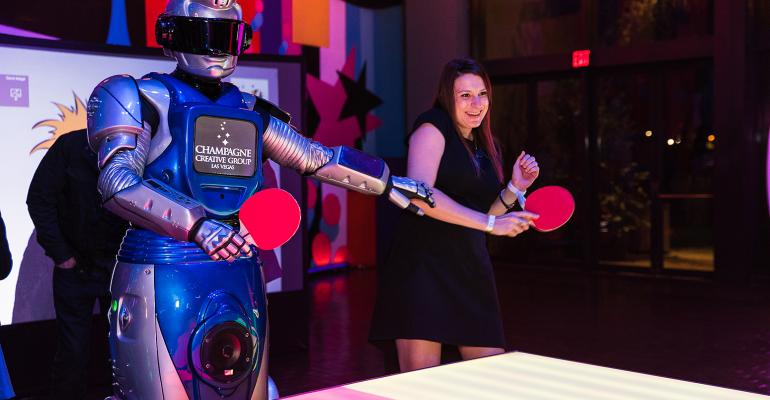 Robot plays ping pong
