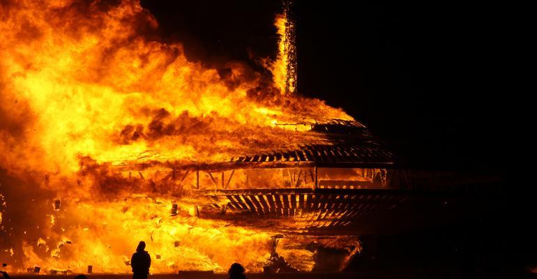 burning effigy at Burning Man