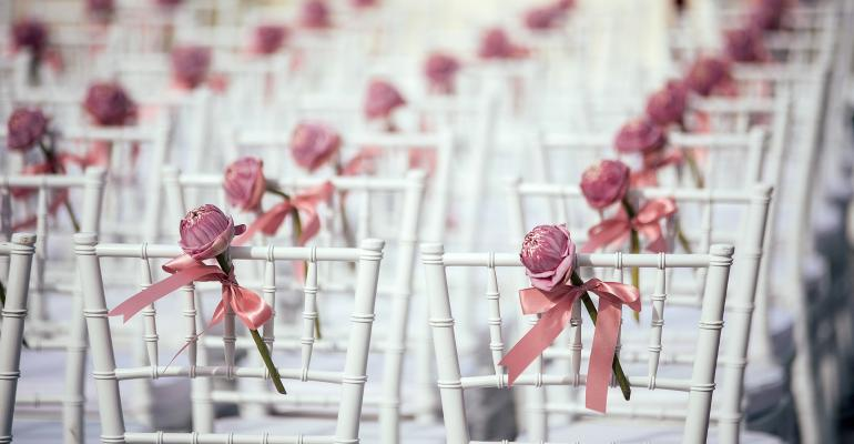Rows of wedding chairs