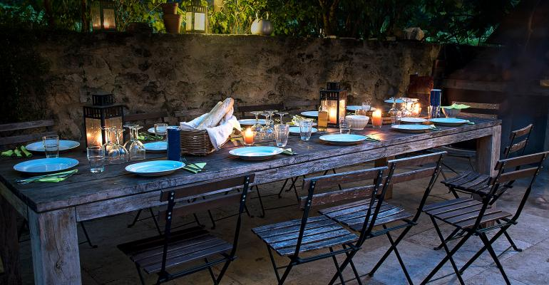Rustic dining table at party