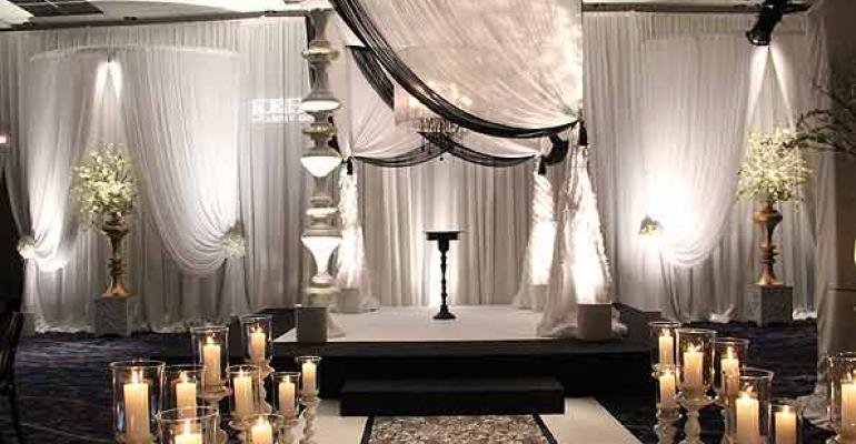 A dramatic Wedding Gallery vignette at The Special Event 2013 from Kehoe Designs Chicago