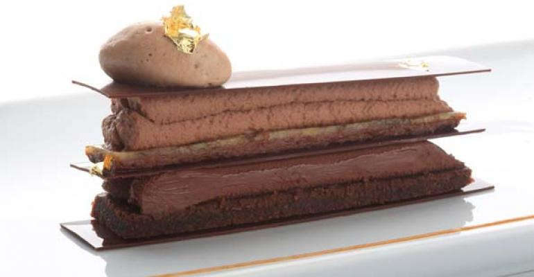 The crisp Tainori chocolate croquant from the Fairmont The Queen Elizabeth