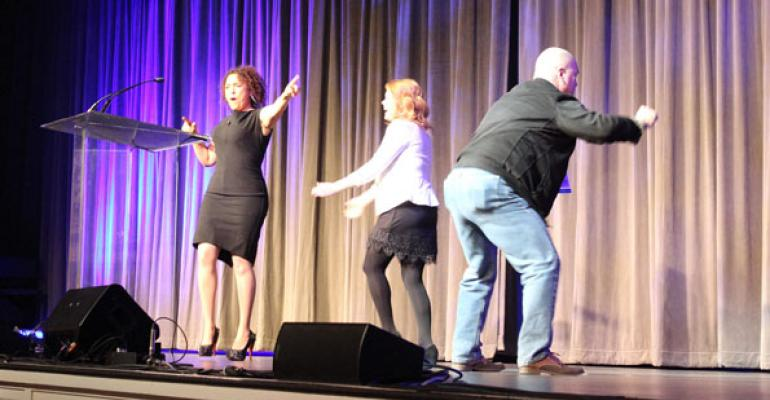 At the Opening General Session for The Special Event 2014 speaker Dawnna St Louis left asks two attendees to show they are bold enough to break the rules and start dancing with her onstageand they oblige
