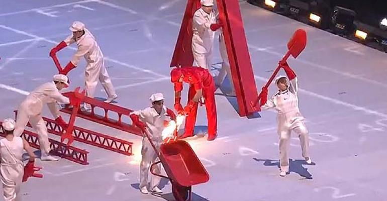 The Olymics Opening Ceremonies in Sochi Russia feature a segment on the rise of industrialization