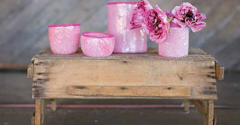 Pretty pink votives and vases from Accent Decor