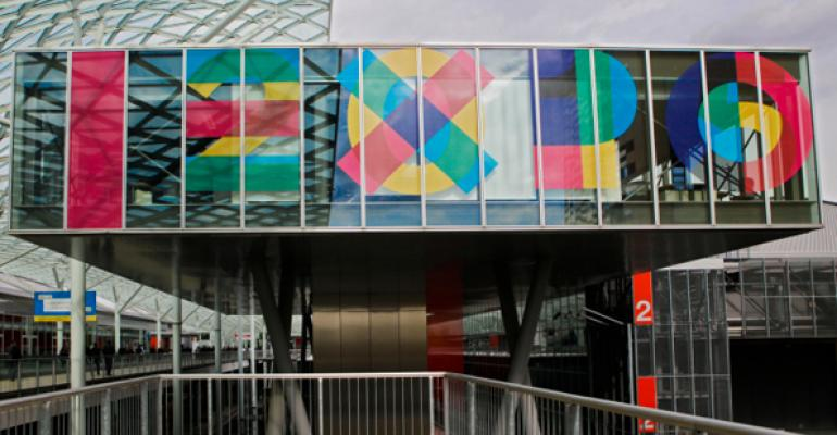 Ready for 2015 Exterior of Fieramilano with sign Expo 2015 Tuttofood Milano World Food Exhibition
