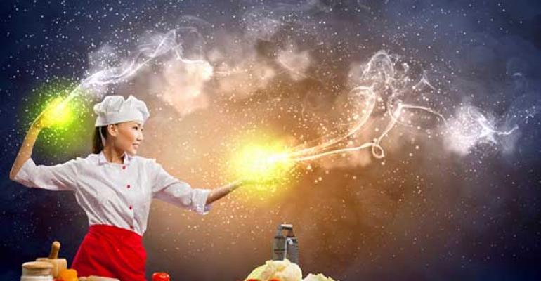 Chef cooks with magic