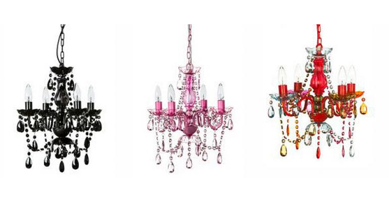 Colorful Acrylic Chandeliers Offered by Gypsy Color Special Events