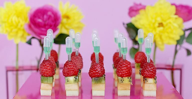 Fruit towers with KoolAid pipettes
