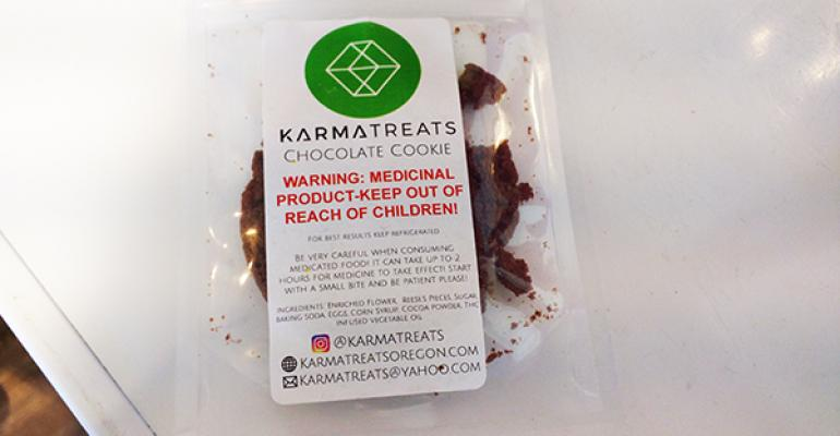A cannabis chocolate cookie from KarmaTreats for sale at an Oregon dispensary