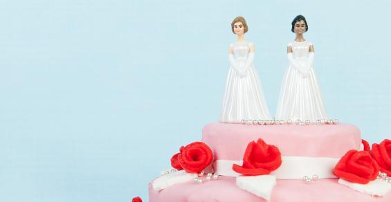 Two Brides Wedding Cake