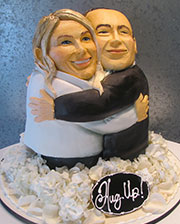 Cake looks like bridal couple